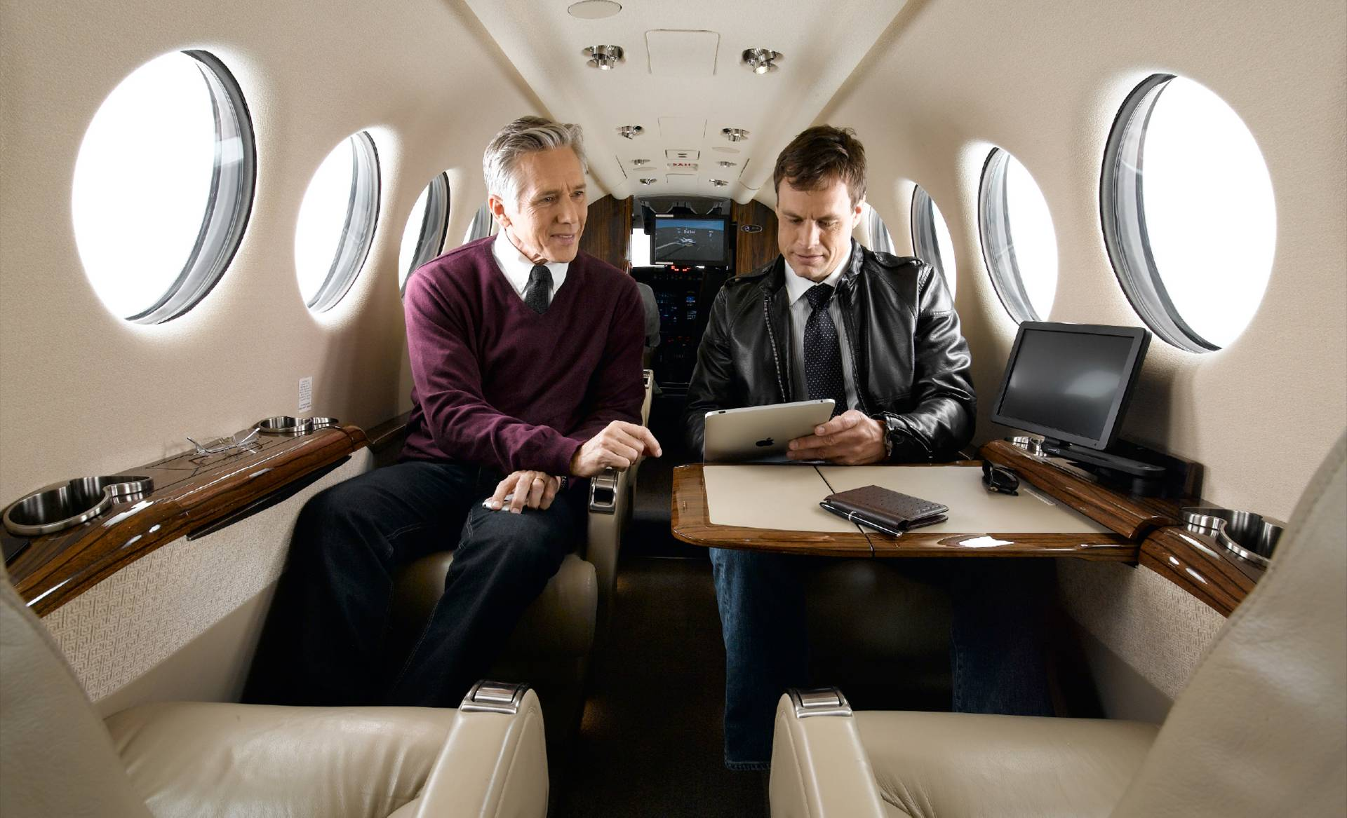 Business meeting in a King Air