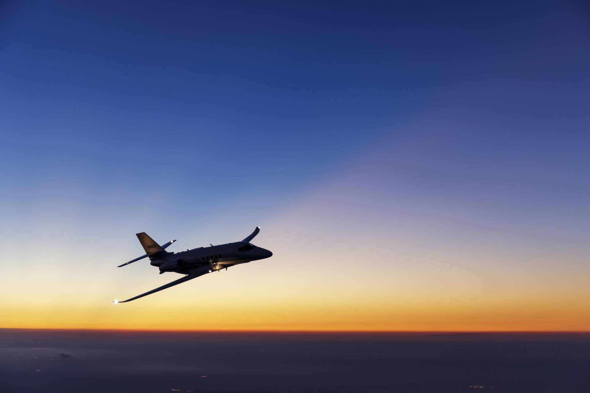 Cessna Citation at sunset