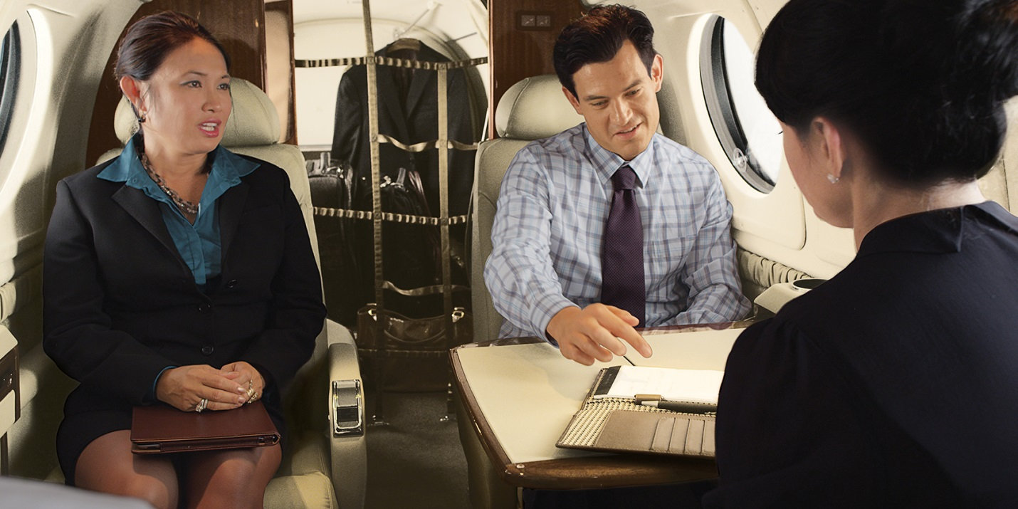 Business meeting on a King Air
