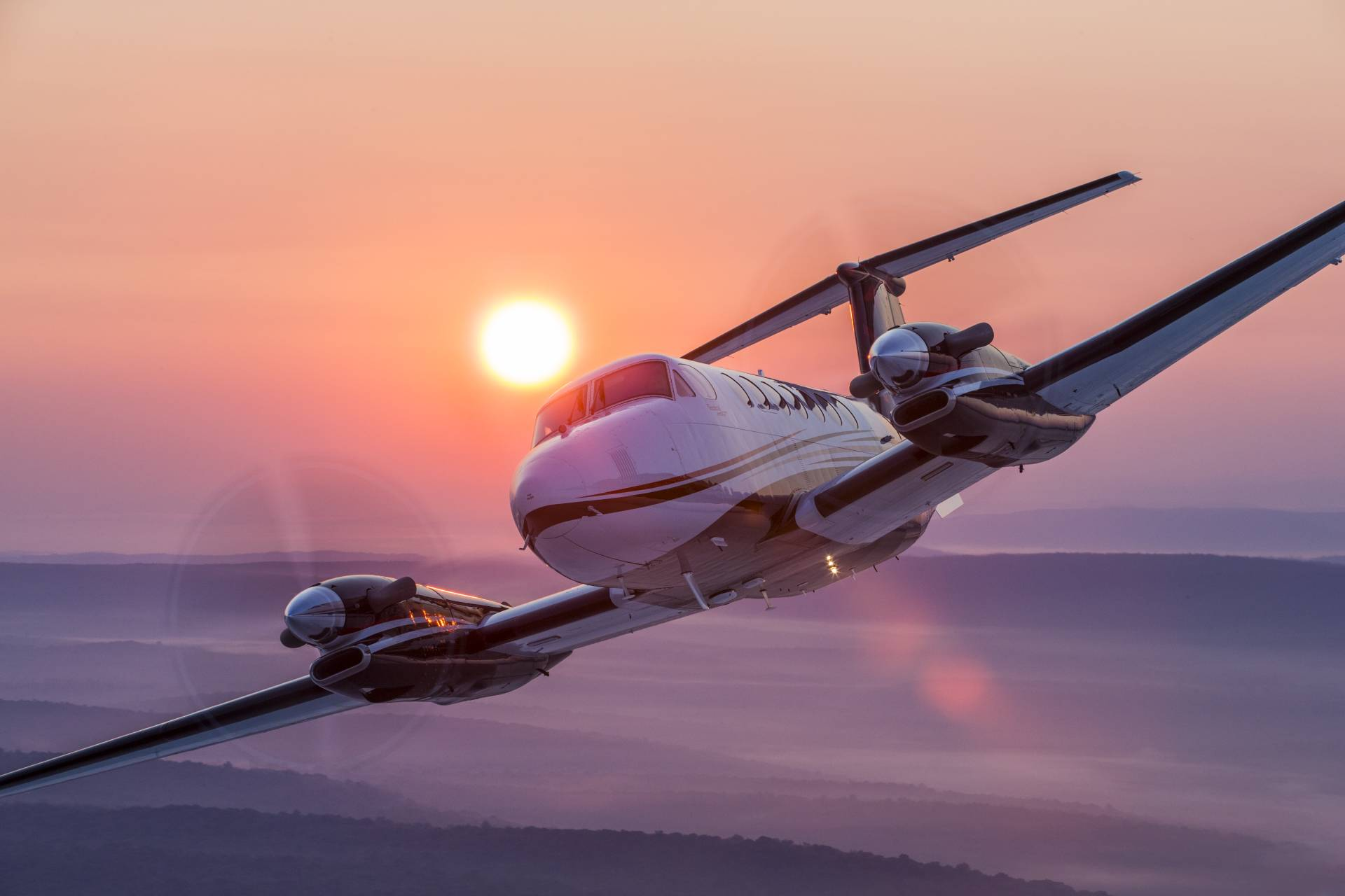 Beechcraft King Air at sunrise