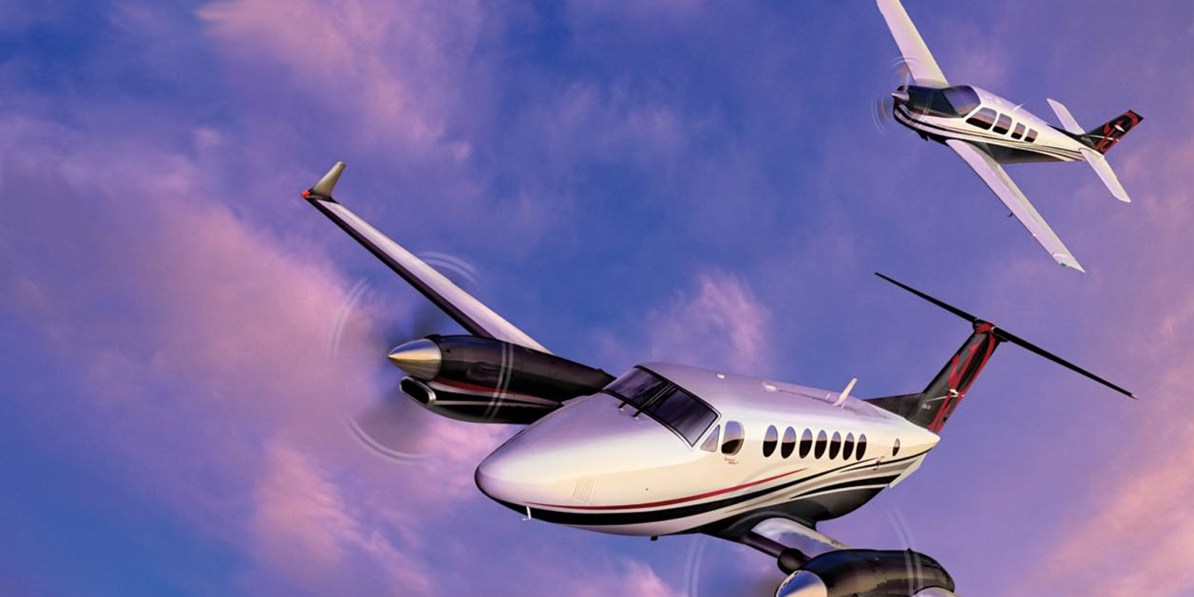 Beechcraft King Air and Bonanza in flight