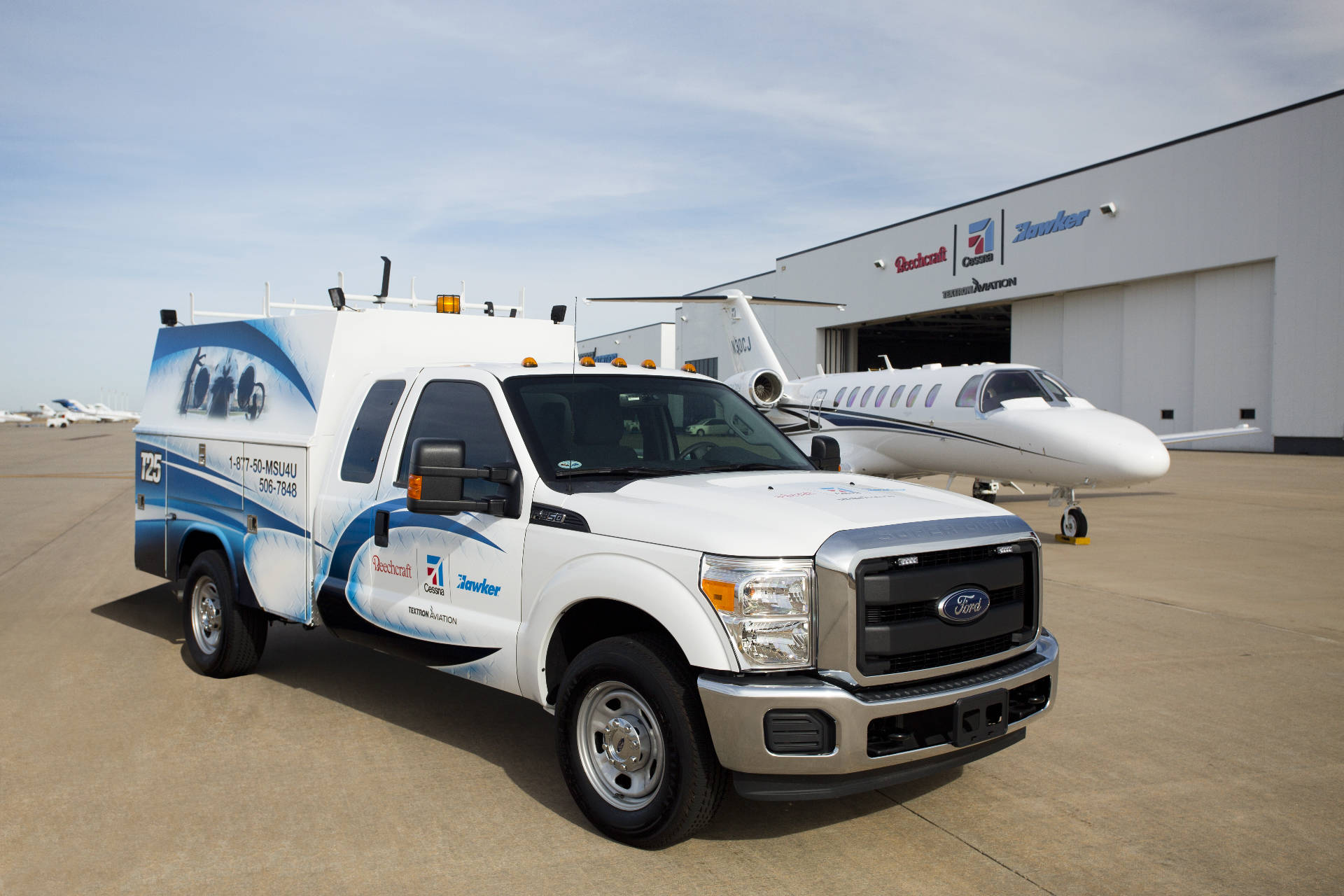 Mobile Service truck supporting aircraft
