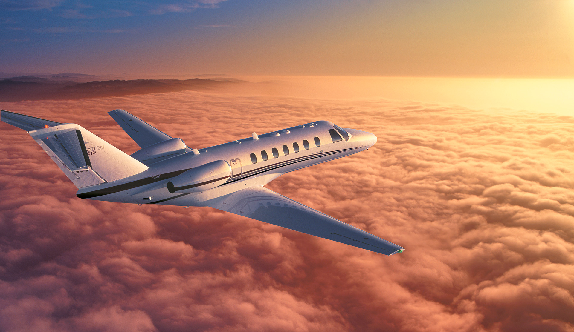 Cessna Citation at sunrise