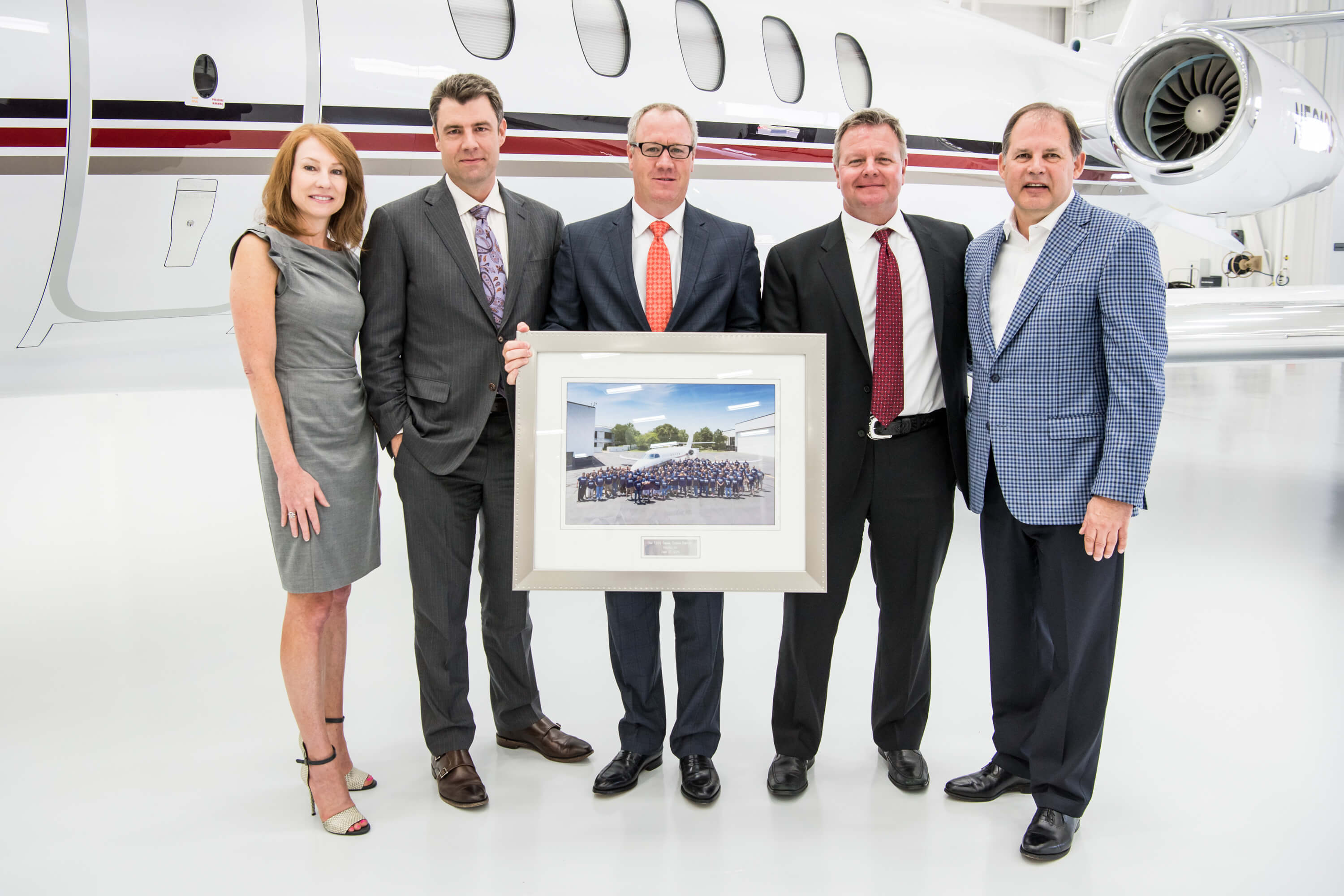 Pictured from left to right: Kriya Shortt, Senior Vice President of Sales & Marketing, Textron Aviation; Adam Johnson, CEO, NetJets; Doug Henneberry, Executive Vice President of Aircraft Asset Management, NetJets; Bill Noe, President and COO, NetJets; Scott Ernest, President & CEO, Textron Aviation