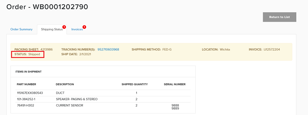 "Screenshot of order summary featuring shipping status ""shipped"""