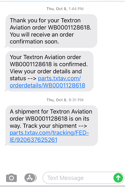 Screenshot of text message updates about your Textron Aviation parts order